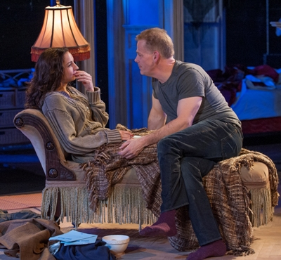 Rook as Kyra and Philip Earl Johnson as Tom revisit an affair in Skylight by David Hare directed by William Brown at Court Theatre 2013 credit Michael Brosilow