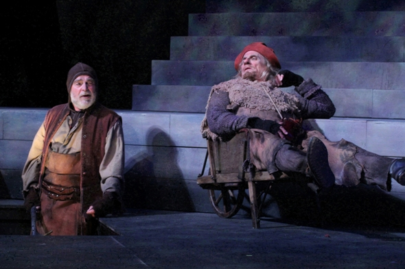 James Pickering and John Pribyl as gravediggers in 'Hamlet' at American Players Theatre 2013 (Carissa Dixon)
