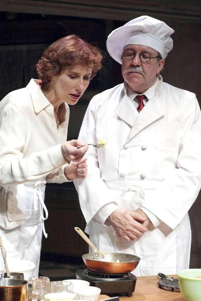 Karen Janes Woditsch as Julia Child, Terry Hamilton as Chef Max Bugnard in 'To Master the Art' Timeline Theatre 2010. The play is being revived for Broadway Playhouse at Water Place. (Lara Goetsch)