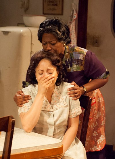 Lena 'Mama' Younger (Greta Oglesby) comforts Ruth Younger (Toni Martin) in TimeLine's 'A Raisin in the Sun' 2013 (Lara Goetsch)