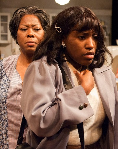 Lena 'Mama' Younger (Greta Oglesby) is startled by daughter Beneatha's (Mildred Marie Langford) beliefs in TimeLine's 'A Raisin in the Sun' 2013 (Lara Goetsch)