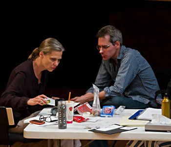 Playwright Bruce Norris, center, who works often with Steppenwolf, is pictured in a 2011 rehearsal with director Amy Morton for 'Clybourne Park.' (Joel Moorman)