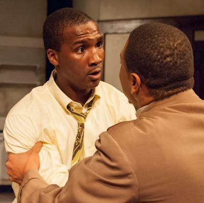Walter Lee Younger (Jerod Haynes) gets very bad news from Bobo (Wardell Julius Clark) in TimeLine's 'A Raisin in the Sun' 2013 (Lara Goetsch)