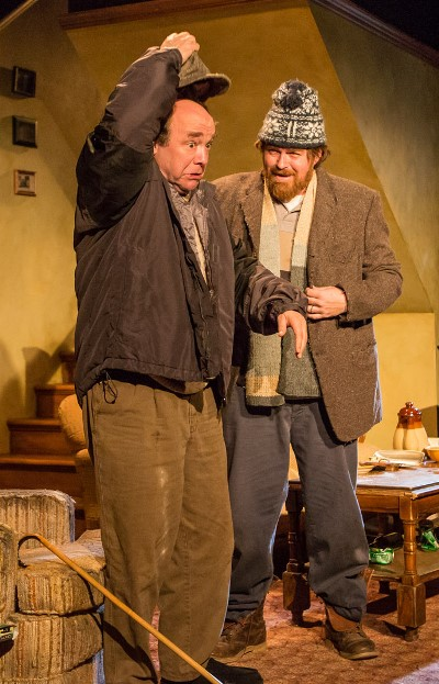 """Blind Richard (Brad Armacost, left) gets a steadying hand from Ivan (Ira Amyx) in """"The Seafarer"""" at Seanachai Theatre. (Joe Mazza)"""