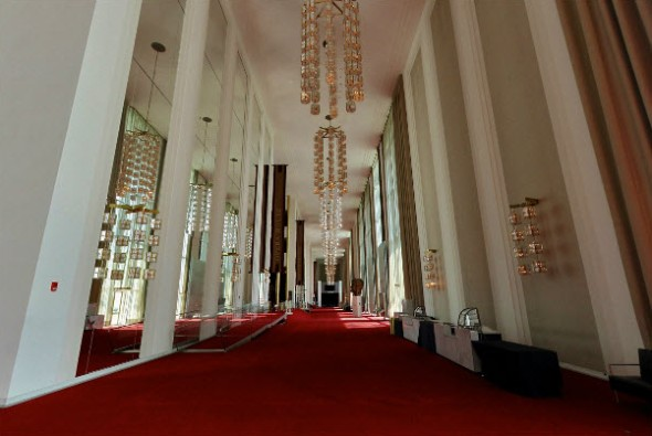 North Grand Foyer, Kennedy Center, which is lobby for Concert Hall, Opera House and Eisenhower Theater. It is 60' high, 630' long, among the world's largest.