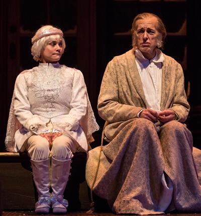 The Ghost of Christmas Past (Elizabeth Ledo) schools Scrooge (Larry Yando)  on his ill-spent life in 'A Christmas Carol.' (Liz Lauren)