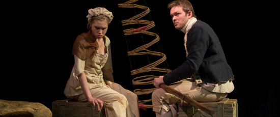 A British sailor (Drew Shad) looks for love with a female prisoner (Mary Franke) in 'Our Country's Good.' (Michael Brosilow)