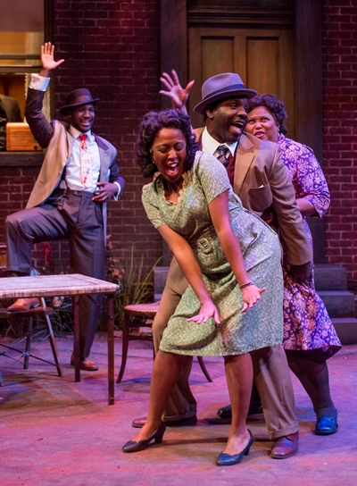 Dancing for joy are Vera (Ebony Wimbs, center), Red (Ronald Conner) and Louise (Felicia Fields) as Canewell (Jerod Haynes) looks on. (Michael Brosilow)