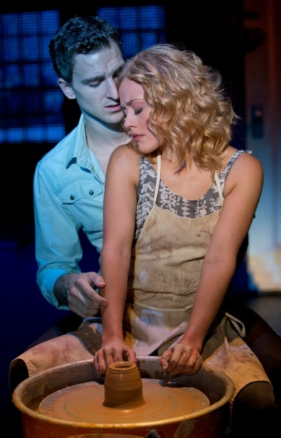 Lovers Sam (Steven Grant Douglas) and Molly (Katie Postotnik) share a surreal moment in 'Ghost The Musical' presented by Broadway in Chicago. (Joan Marcus)