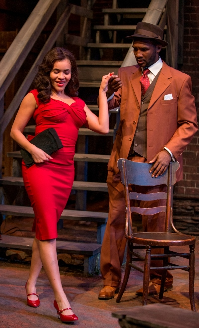 Ruby (Erynn Mackenzie) gets a helping hand from  Canewell (Jerod Haynes) in August Wilson's 'Seven Guitars' at Court Theatre. (Michael Brosilow)