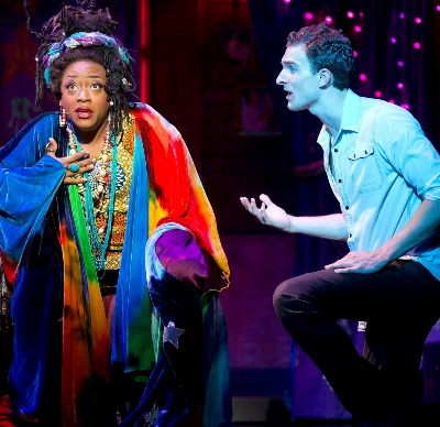 The murdered Sam (Steven Grant Douglas) seeks help from a medium (Carla R. Stewart) in 'Ghost The Musical' at the Oriental Theatre. (Joan Marcus)