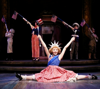 Baby June (Emily Leahy) is the family star. That's sister Louise (Caroline Hefferman) behind her in pants, as Uncle Sam. CST 'Gypsy' (Liz Lauren)