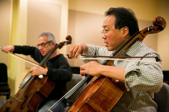 Giovanni Sollima and  Yo-Yo Ma perform world premiere of Sollima's 'Antidotum Tarantulae XXI' with Chicago Symphony Orchestra (Todd Rosenberg)