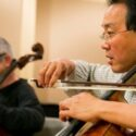Giovanni Sollima and  Yo-Yo Ma perform world premiere of Sollima's 'Antidotum Tarantula XXI' with Chicago Symphony Orchestra Jan. 30, 2014 (Todd Rosenberg)