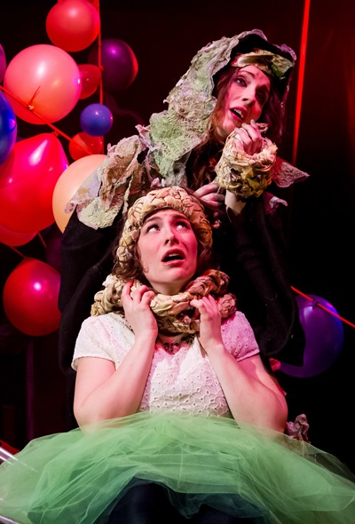 Hillary Marren, top, portrays the Witch with Sarah Bockel as Rapunzel in 'Into the Woods.' (Matthew Gregory Hollis)