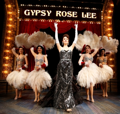 Once Louise (Jessica Rush) steps out of her trousers, she rises fast in strip-tease. Chicago Shakespeare Theater 'Gypsy' (Liz Lauren)