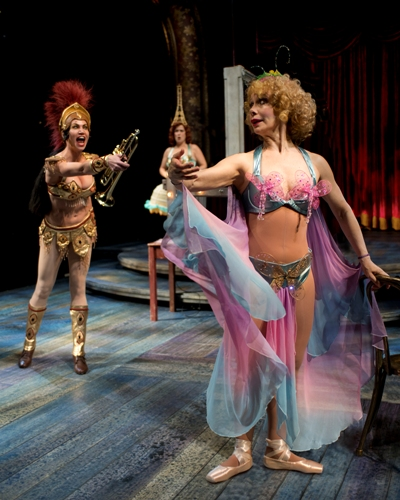 Stripper Mazeppa (Mally Callinan) plays trumpet, Electra (Rengin Altay) twinkles, Tessie Tura (Barbara E. Robertson) does ballet. CST 'Gypsy' (Michael Brosilow)