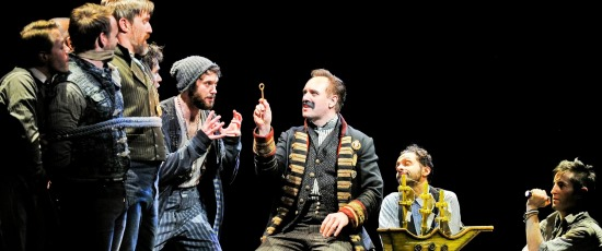 Black Stache (John Sanders, center) knows that where there's a key, there must be a treasure chest. (Broadway in Chicago)