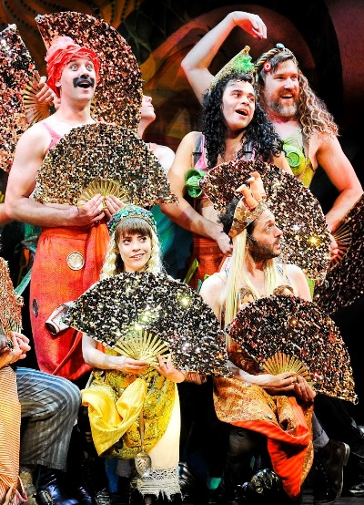 Black Stache (John Sanders, upper left) and company morph into mermaids in 'Peter and the Starcatcher.' (Broadway in Chicago)