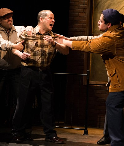 An angry Eddie (Ramón Camín, center) is restrained by Lipari (Joel Maisonet, left) and Louis (Todd Garcia). (Javier Maisonet)