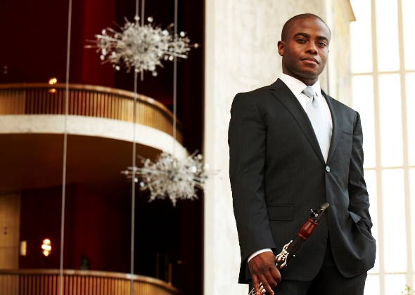 Anthony McGill at  the Metropolian Opera, where he is  the orchestra's principal clarinet.