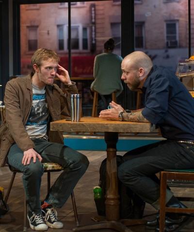 Childhood friend Frank (Matt Hawkins, right) seeks crucial help from Jamie (Brett Schneider). (Michael Brosilow)