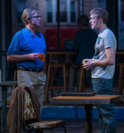 Jamie (Brett Schneider, right) is encouraged by his worried father (James Leaming) to think back on details of his childhood. (Michael Brosilow)
