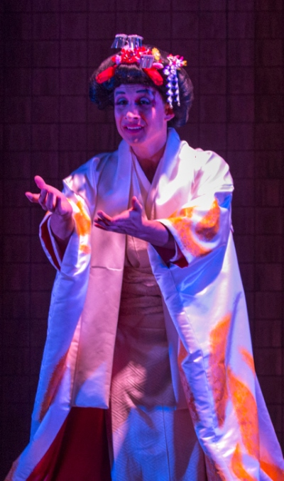 Song Liling (Nathaniel Braga) fully tricked out as Madama Butterfly in 'M. Butterfly' by David Henry Hwang Court Theatre 2014. (Michael Brosilow)