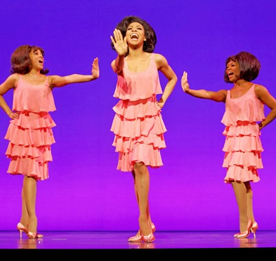 Krisha Marcano (Florence Ballard), Allison Semmes (Diana Ross), Trisha Jeffrey (Mary Wilson) in 'Motown the Musical.' (c) Joan Marcus, 2014