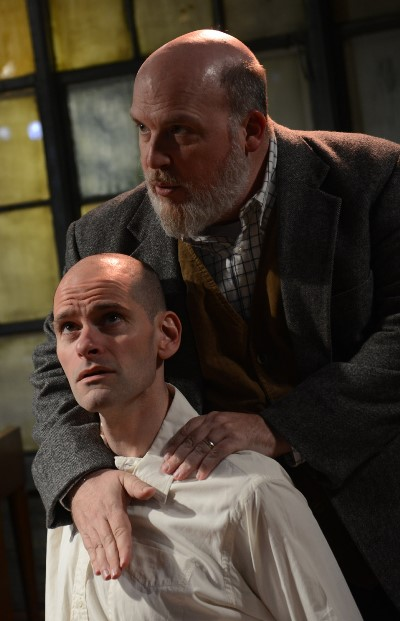 Jamie Vann (top) portrays Charles Ives with Dave Belden as John Starr in Jessica Dickey's 'Charles Ives Take Me Home' at Strawdog. (Chris Ocken)