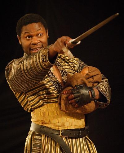 Obi Abili portrays Aaron, the Gothic queen's Moorish lover and insidious adviser. (Simon Kane)