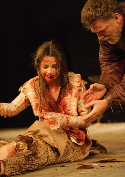 The ravaged Lavinia (Flora Spencer-Longhurst) is attended by her father Titus Andronicus (William Houston). (Simon Kane)