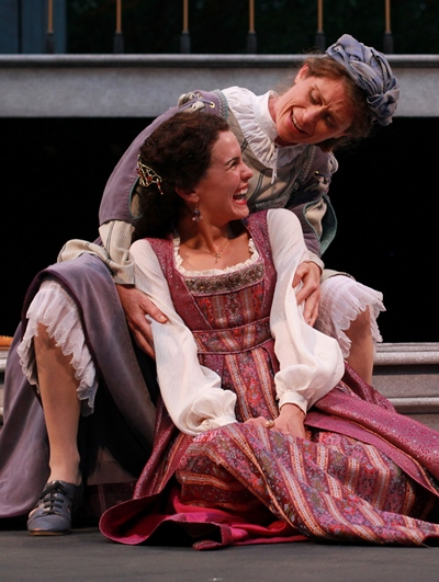Juliet (Melisa Pereyra, foreground) and her Nurse (Colleen Madden) share a happy chat on the subject of marriage. (Carissa Dixon)