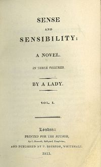 'Sense And Sensibility,' 1811, was Jane Austen's first published novel. (Wiki)
