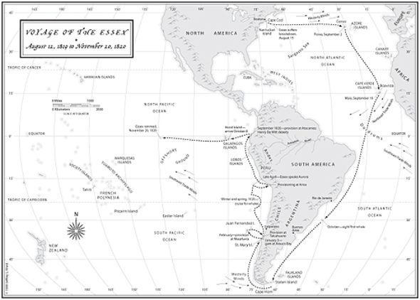 The last voyage of the Essex. Dot left of center marks its fatal end. (whaleshipessexwreck.blogspot.com)
