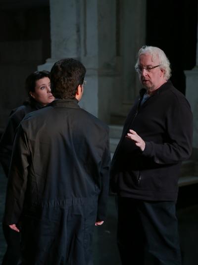 Director Robert Falls works with Marina Rebeka (as Donna Anna) and Antonio Poli (as Don Ottavio) in rehearsal for Mozart's 'Don Giovanni' at Lyric Opera. (Andrew Cioffi)