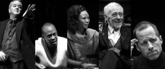 Ensemble members, from left, Francis Guinan ('The Night Alive'), K. Todd Freeman ('Airline Highway'), Alana Arenas )'Marie Antoinette'), John Mahoney ('The Herd'), Tim Hopper ('Grand Concourse'). (Courtesy of Steppenwolf Theatre)