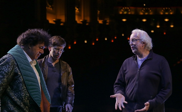 Andrea Silvestrelli (left, Commendatore) and fight director Nicolas Sandys consult with director Robert Falls at a 'Don Giovanni rehearsal. (Andrew Cioffi)