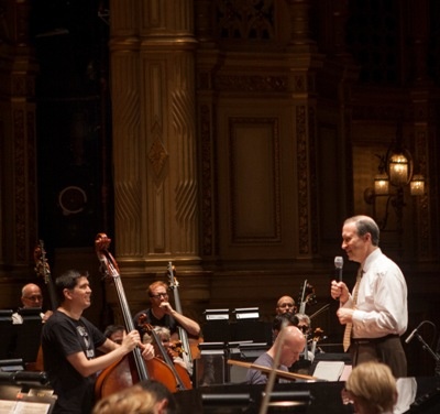 Jeff Alexander, on stage at the Orpheum Theatre with musicians of the Vancouver Symphony Orchestra. (Chris Loh)