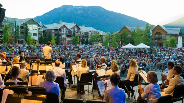The Vancouver Symphony performs at Whistler, a Canadian ski and summer recreation resort in the mountains near Vancouver.