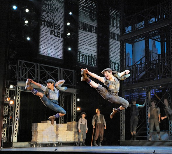 The high-powered dancers get airborne in the national touring production of 'Disney's Newsies.' (Deen van Meer)