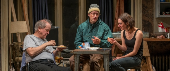 Newcomer Aimee (Helen Sadler) spices the lives of Tommy (Francis Guinan, left) and Doc (Tim Hopper). (Michael Brosilow)