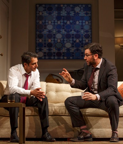 Amir (Hari Dhillon, left) and Isaac (Josh Radnor) tend to see the world from different perspectives. (Joan Marcus)