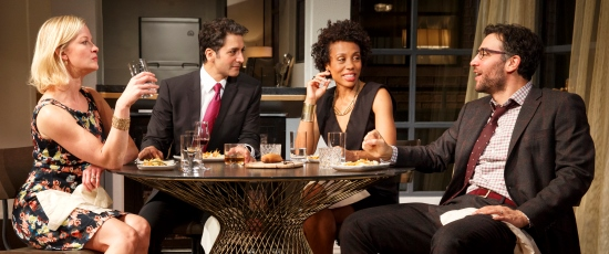 Dinner with friends takes a bitter turn in Ayad Akhtar's 'Disgraced,' directed by Kimberly Senior at Broadway's Lyceum Theatre. (Joan Marcus)