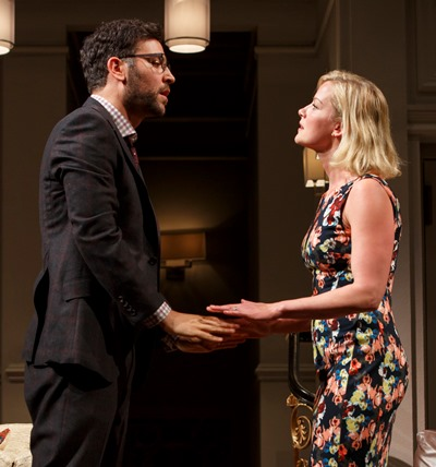 Emily (Gretchen Mol) and Isaac (Josh Radnor) try to come to an understanding about more than art. (Joan Marcus)