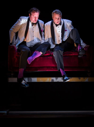 Twin fetuses Samuel (Eric Slater, left) and John (Guy Massey) get ready for their launch into life. (Liz Lauren)