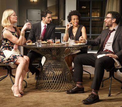 The dinner scene from 'Disgraced' by Ayad Akhtar, at the Lyceum on Broadway 2014.  (Joan Marcus)