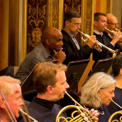 Wow, what a sound. The look on trumpet Tage Larsen's face says it all as he listens to his comrades in the Musikverein. (Todd Rosenberg)
