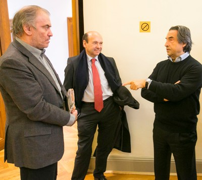 Conductor Valery Gergiev and Dominique Meyer, artistic director of the Vienna State Opera, were among the many who dropped in on Riccardo Muti backstage during Chicago Symphony Orchestra rehearsals at the Vienna Musikverein. (Todd Rosenberg)