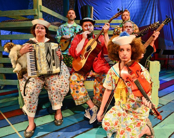 The cast of The Hypocrites 'H.M.S. Pinafore' sing and play their own instruments. (Evan Hanover)